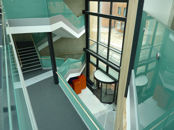 View of the atrium from the second floor of new building September 2010