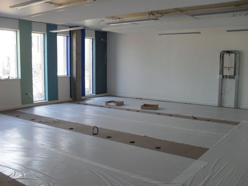 Carpet laid and walls painted in new building June 2010