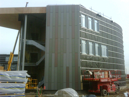 External cladding beginning to be added to Heslington East CS building March 2010