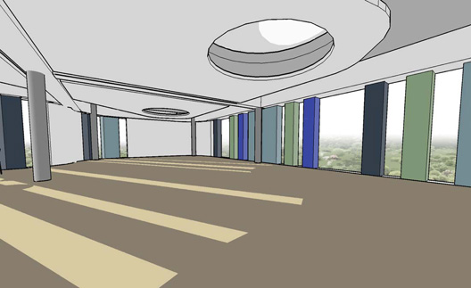 An artist's impression of the seminar room in the pod in the Computer Science building at Heslington East