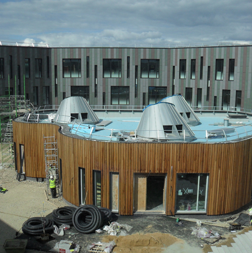 View of the pod and courtyard from one side of the CS building May 2010