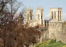 View of Minster and city walls in springtime